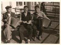 Marie's father Antonín Doleček (in the middle), 1960s, Ježník u Krnova