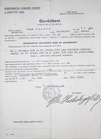 Josef Hamšík / Certificate: participant in the national fight for liberation