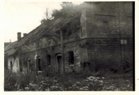 Former barn of Horký family fell into disrepair due to bad maintenance by cooperative farm, it was demolished, health center and post office were built on its place in 1974