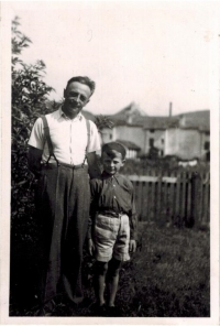 Josef Horký as a young boy with his father Josef, at Sokol camp in Červená Voda, summer 1947