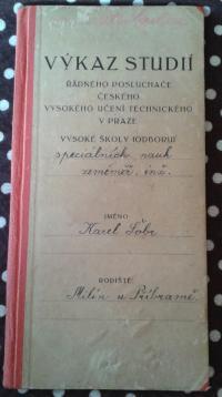 výkaz o studiích Karla Šobra st.