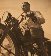 father on motorbike