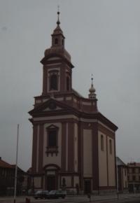 Kostel sv. Jana Křtitele v Hranicích, který opravoval pamětník Josef Jančář.