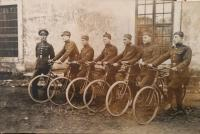Police constables on bikes during first Czechoslovak republik, Ján Buzássy older second from the left