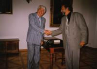 Ladislav Lašek at the town hall with the mayor of Stříbro - Mr. Bursík