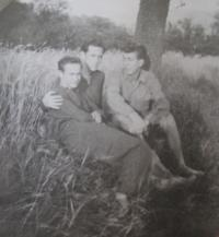 Ladislav Lašek with his friends on (working) holidays at the family farm in Vinná - Vladyka and Grafnetter