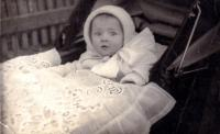 1931 - Lola in the stroller, the blanket is from the garb parts, hand-embroidered