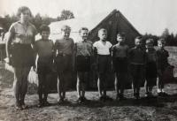 Military pioneer camp, Jiří second left, about 1958