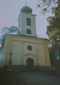 The repaired church in Domašov nad Bystřicí. The church was repaired by Antonín Pospíšil, when he was a parish priest in this parish (1992-2005).