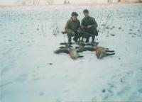 Eduard Kraus a vnuk Radek na lovu, Libkovice, 2009