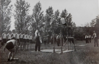 Uncle Zdeněk Švéda at the Sokol exercise in parallel bars in 1938