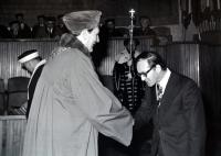 J.Kalny accepts the degree of candidate for science in 1978
