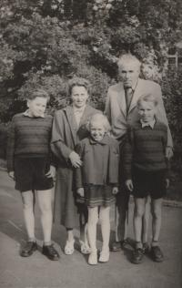 The Pavlík family at Petřín, Prague, Petr right, 1956