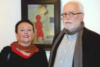 Petr Pavlík with Magda his wife and the Pilgrim Girl painting, Roudnice Gallery 2010