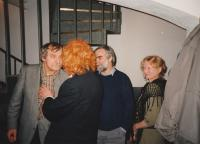 50th birthday party as Dr. Pavel Petřík in the red wig, left Jiří Načeradský, At Růžový sad pub, Prague 1995