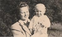 With his mother, Prague 1945