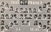Maturita portrait, Petr Pavlík in the upper row first right, Prague 9 Vysočany 1963
