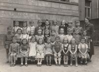 Petr Pavlík 4th right in the middle row in his 1st class, Basi School of K.V.Rais Prague 2, 1951