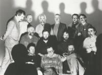 The 12/15 group bottom left: Beránek, Vomáčka, Dvořák, middle row left: Bláha, Gebauer, Kafka, Ouhel, upper row left: Načeradský, Rittstein, Pavlík, Sopko, Švéda, Novák, Prague 1988, foto by Tono Stano