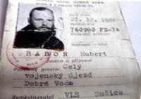 Povolení pro H.Babora od Vojenské lesní správy Sušice ke vstupu do prostoru Vojenského újezdu Dobrá Voda