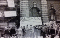 Seznam zrádců u paty radnice, Liberec, srpen 1968