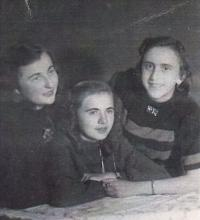 Emilie (left) with her friends, undated