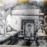 Kresba cely, ve které byl vězněný J.Lánský (neznámý autor, spoluvězeň)
