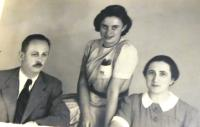 Father Vladimír Tauss, sister Marta Tauss, mother Olga Tauss, Brno, cca end of 1930s