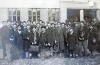 Jewish youth in Chust. Antonín Moťovič  fourth from right. 1940´s