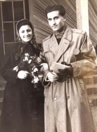 Graduating from school, with wife Alice, Prague 1953