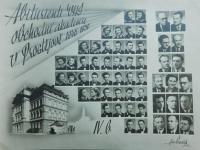 Maturitní tablo s Jarmilou Francovou z obchodní akademie v Prostějově z roku 1950.