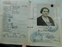 Passport of her aunt Anna Schreiber which she intended to use to leave Czechoslovakia in 1939. She stayed and he died in the concentration camp Gross Rossen