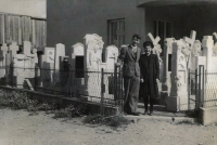 Zdenka Vévodová's parents in front of the Bojkovice house (1936)