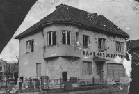 The Stehlíček house in Bojkovice after bombardment (April 1945)