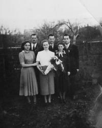 Věra and Rudolf Buxbaum on the right and his sisters Ilsa and Hana with their husbands in Kyjov