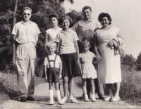 1959 - Martha (in the back) with parents and friends on a road trip