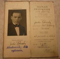 Podobizna otce, Jaroslava Vrbenského staršího na vysokoškolském indexu