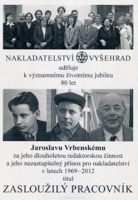Vrbenský Jaroslav - publishing house Vyšehrad