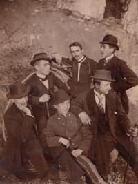 Leopold Novák, her grandfather from her mother's side, as a student (second from the left with the hat), 1893