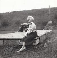 Zdena Mašínová at the shooting range in Prague-Kobylisy where they executed her father Josef Mašín, 21 August 1991
