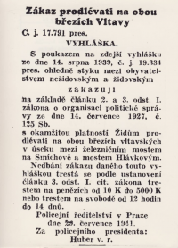 Zákaz prodlévati na březích Vltavy pro Židy
