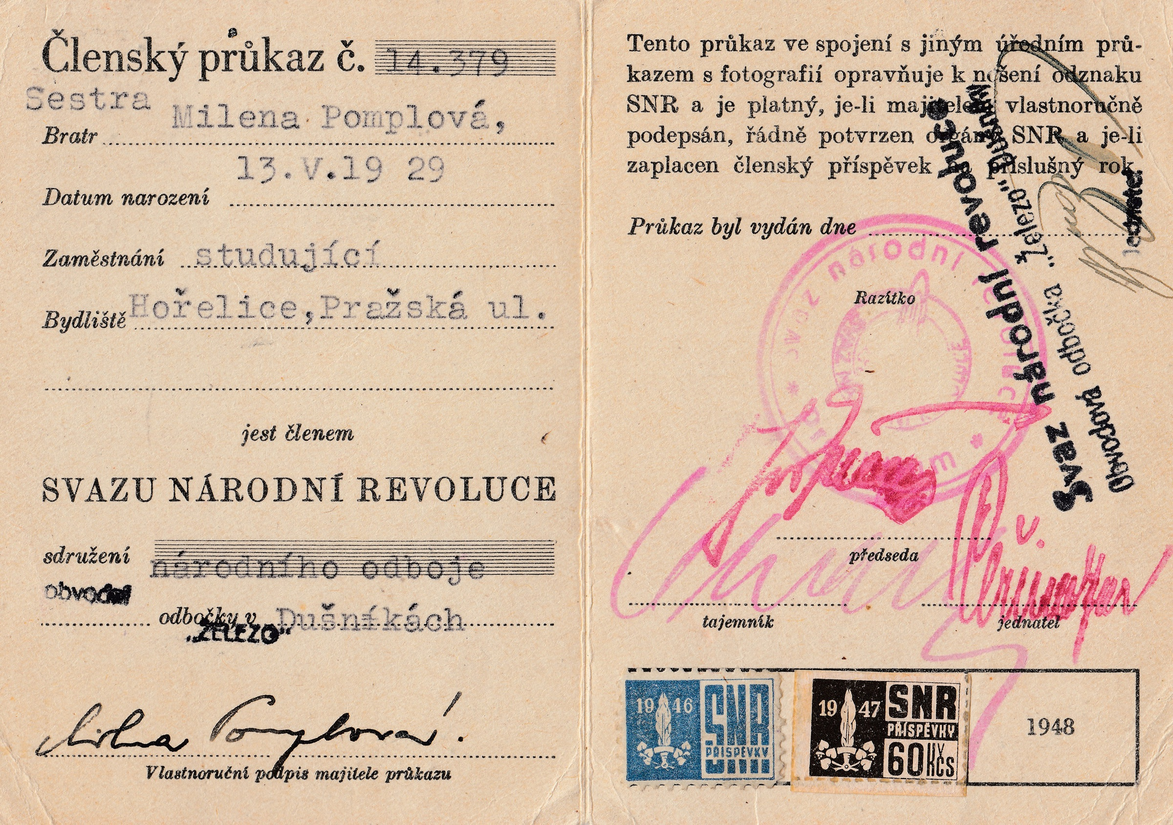 Membership card of the Union of National Revolution 9a0a074455